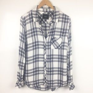 Rails Navy and White Plaid Button Down